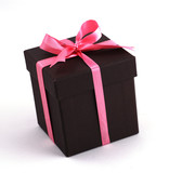 A box of gift with Pink ribbons.