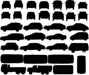 a series of vector car silhouettes