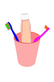vector Toothbrushs in cup with toothpaste poster