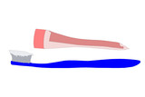 vector toothbrush with toothpaste and tube poster