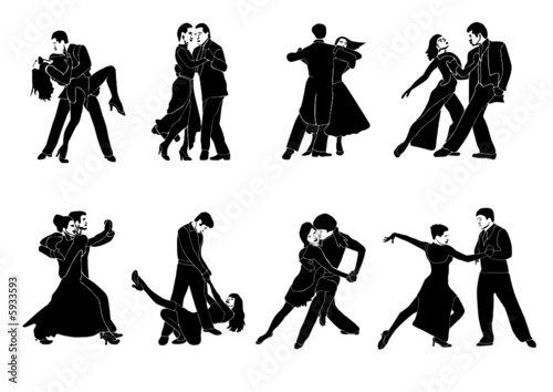 Dance couple vector with detail silhouette