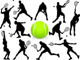 Fototapety Vector Tennis Players Silhouettes