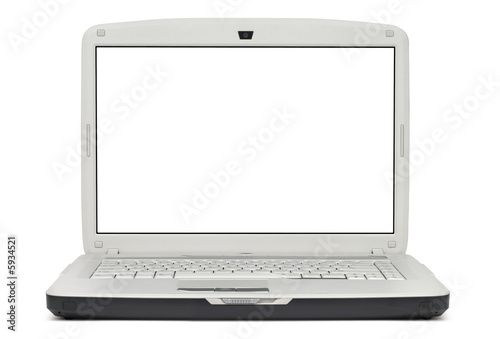 Gray laptop isolated with clipping path over white background