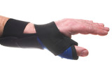 A stiff fabric brace for broken or sprained wrists.