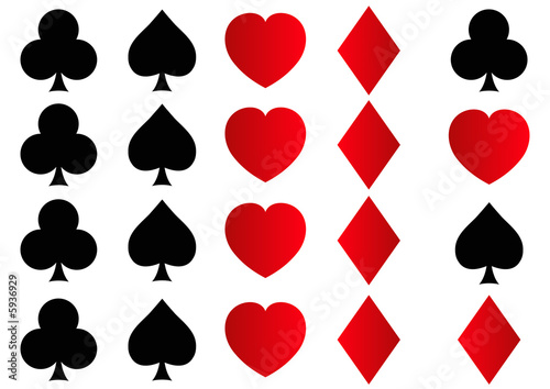Illustration: rows of spades, clubs, hearts and diamonds shapes