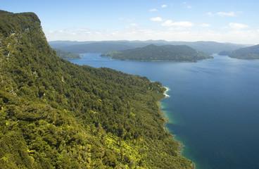 High bluff and mountain lake Waikaremoana, New Zealand