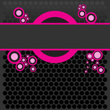 Bright colored pink banner with retro halftone dots poster