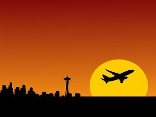 plane leaving Seattle at sunset