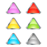 Lot de 6 icônes colorés avec contour métal poster