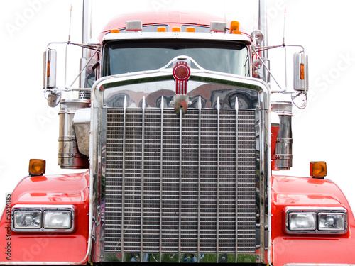steel grill of red truck isolated on the white background