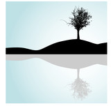 Lonely tree - reflection in water - vector illustration poster