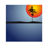 Abstract sundown with lonely tree - vector illustration poster