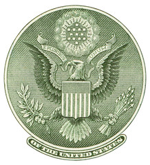 Great Seal of United States from reverse of one dollar bill