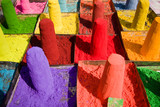 Powder pigments used for festivals - Pushkar, Rajasthan, India poster