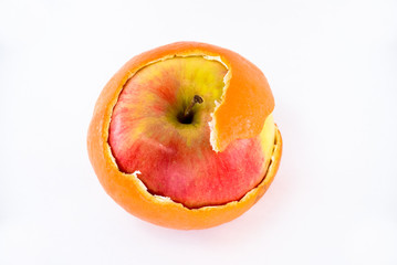 Apple in orange peel