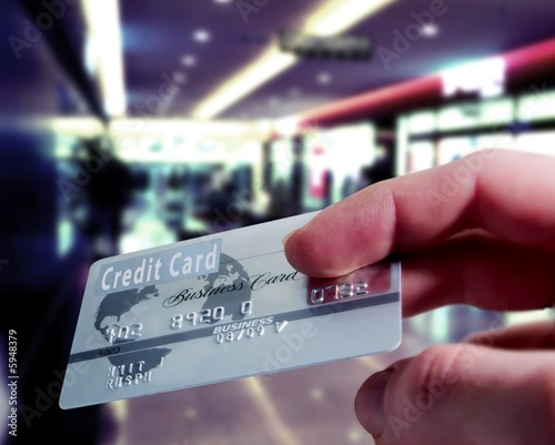 Purchasing with a credit card in a shopping mall