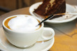 Cappuccino coffee and chocolate cake