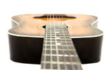 Guitar isolated on white. Camera a little higher strings. poster