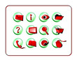 Red-Green Icon Set. Digital illustration.