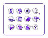 Medical Icon Set, purple. Digital illustration.
