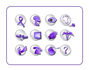 Medical Icon Set, purple. Digital illustration.
