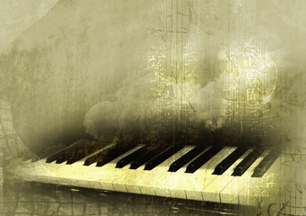 piano in grunge background