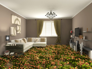 modern  interior with flower floor (3d rendering)