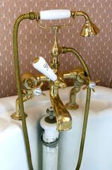Edwardian brass bath fixture with mixer taps
