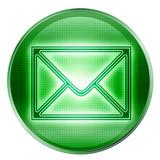 postal envelope icon green, isolated on white background. poster