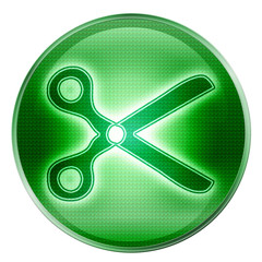 scissors icon green, isolated on white background