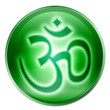 Om Symbol icon green, isolated on white background