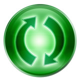 refresh icon green, isolated on white background poster