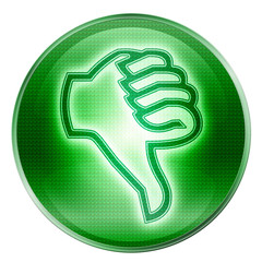 thumb down icon green, isolated on white background