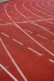 Athletic stadium with running tracks poster