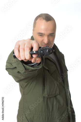 Terrorist with handgun