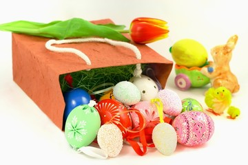 Easter and decorative ornaments – eggs, tulip, hare and chicken