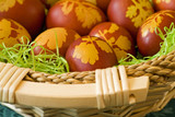 Traditional dyed (in onion peel brew) easter eggs basket poster