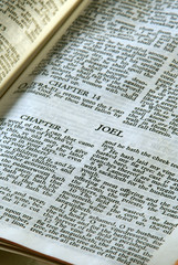 holy bible open to the book of joel in the old testament