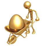 Pushing Gold Nest Egg In A Wheelbarrow