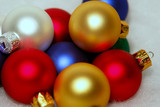 collection of colorful multi-colored crhistmas ornaments