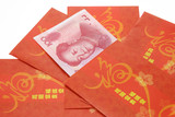 Chinese New Year red packets and Renminbi currency poster