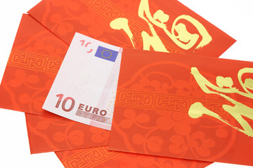 Chinese New Year red packets and Euro currency notes