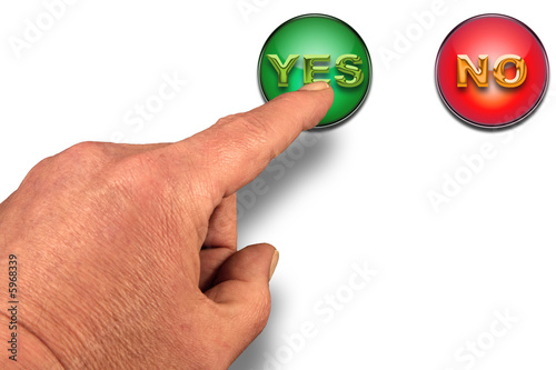 "Finger about to press a ""YES"" button on white"