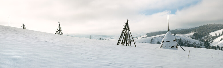 winter mountain panorama (Slavske Village, Lviv Region, Ukraine)