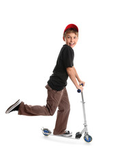 Child riding on a toy  scooter