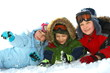 Kids laying in winter snow