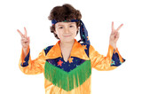 Child hippie whit peace sing a over white background poster