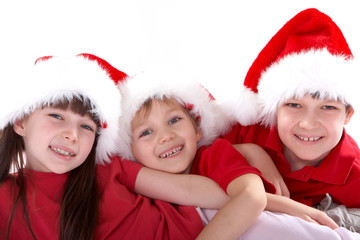 Kids in santa hats