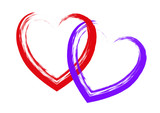 Red and purple hearts made with brush strokes poster