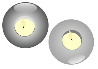 grey stone candles with reflection